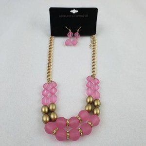 Fashion Jewelry Necklace & Earring Set Pink Gold
